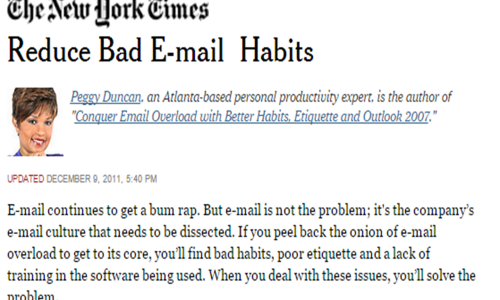 Peggy Duncan article on email overload for New York Times