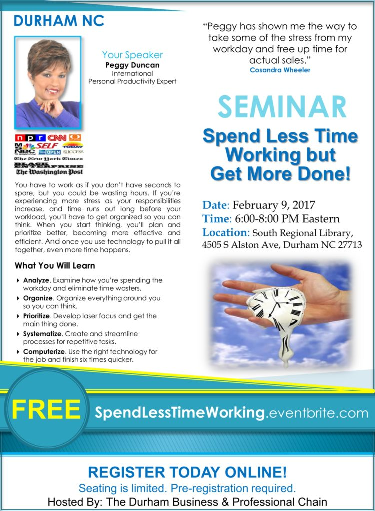 Time Management Seminar with Peggy Duncan